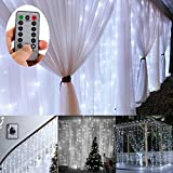 Battery Operated 300 LED Curtain String lights w/ Remote & Timer, Outdoor Curtain Icicle Wall Lights For Wedding Backdrops, Christmas, Holiday, Camping Decoration (3m × 3m, Dimmable, Cool White)