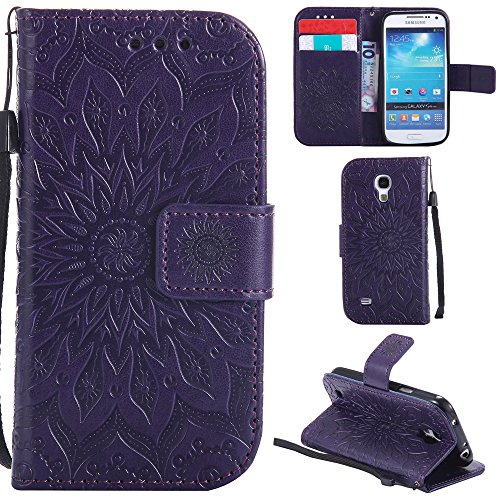 Ooboom Samsung Galaxy S4 Mini ケース ひまわり パターンレザー 便利な保護 フリップ 手帳型 横開き カバー 革 高級PU マグネット式ド収納 スタンド機能 財布型 カバー リストストラップ ために Samsung Galaxy S4 Mini - 紫の
