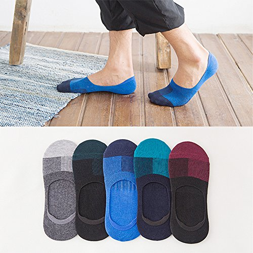 Jozzken 5足組 ソックス 靴下 メンズ くるぶしショートソックス[抗菌防臭・通気吸汗] ふわふわ気持ちい履き心地 (5足セット チェック柄)