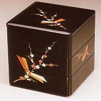 【木製漆塗り】黒内朱 6寸5分三段本重箱 結び梅