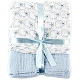 Hudson Baby ハドソンベビー  モスリンコットン おくるみ ブランケット 2枚セット Muslin Swaddle Blankets 2pk (羊ブルー) [並行輸入品]