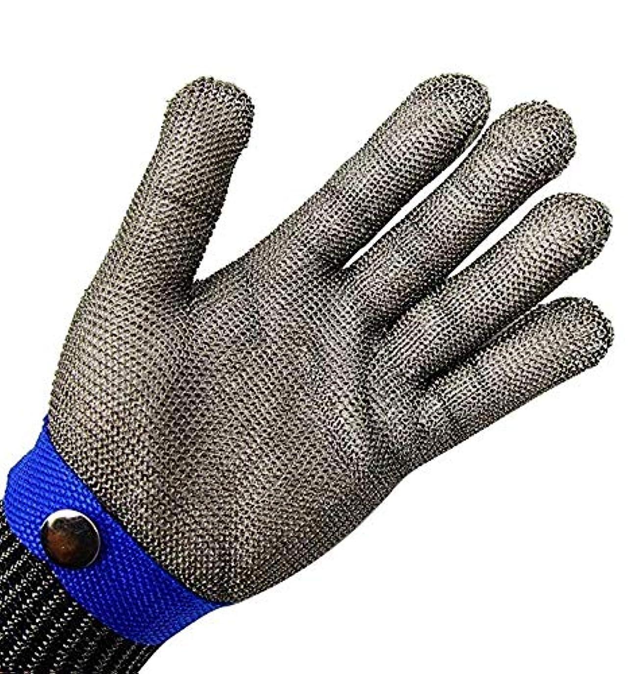 立場貞旅行食肉加工、釣り用のカット耐性の手袋、ステンレス鋼線メタルメッシュブッチャー安全作業手袋,L