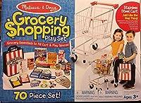 Melissa and Doug 70ピース食料品ショッピングプレイセット ステンレススチールカート付き