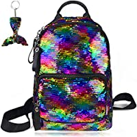 "Reversible Sequin Backpack Rainbow Magic Glitter Fashion School Bag Sparkly Fish Scale Flip Fun Pattern Lightweight Young Adult Women Girls and Boys 17"" 12¼"" 4¾"""
