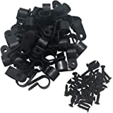 """Cable Clamp R-Type Cable Clip Wire Clamp 1/2"""" Nylon Screw Mounting Cord Fastener Clips with Screws for Wire Management - 50 P"""