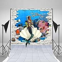 レンガ壁の背景幕の布Vinly写真6feet-8feetマーメイド写真小道具背景子供写真の背景幕