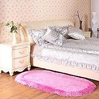 60 * 90cmストレッチシルクマット、厚い楕円形のリビングルームコーヒーテーブルベッドルームベッドマット、モダンなミニマリストマット ( 色 : ピンク ぴんく )