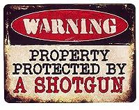 ショットガンで撃ちます!!★PROTECTED BY A SHOTGUN★当店Sサイズ★アメリカンブリキ看板
