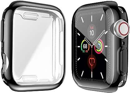 【2枚入り】Alinsea Apple Watch Series 5/Series 4 44mm ケース Apple Watch Series 5/Series 4 44mm 保護ケース 柔らかい 超薄型 TPU 全面保護ケース Apple Watch 44mm フィルム アップルウォッチケース シリーズ 44mm カバー Apple WatchSeries 5/ Series4 44mmに対応(1ブラック+1クリア)