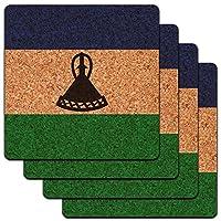 レソト国立国旗ロープロファイルコルクコースターセット
