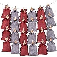 飾りをぶら下げクリスマスアドベントカレンダー24日カウントダウンハンギングアドベントカレンダークリスマスギフトバッグキャンディストレージポーチリネンクリスマスガーランドDIYのクリスマスの装飾のホームドアウォールクリスマス正月(E) lzpff (Color : B)