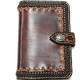 本牛革メッシュ装飾バイブルサイズ6穴システム手帳用紙対応手帳バインダー