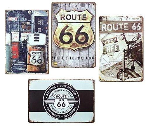 RoomClip商品情報 - アメリカン 雑貨 ルート66 メタルプレート ブリキ 看板 4枚セット アンティーク レトロ
