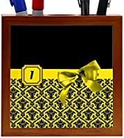 Rikki Knight Letter I Yellow Monogram Damask Bow Design 5-Inch Tile Wooden Tile Pen Holder (RK-PH41875) [並行輸入品]