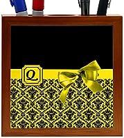 Rikki Knight Letter Q Yellow Monogram Damask Bow Design 5-Inch Tile Wooden Tile Pen Holder (RK-PH41955) [並行輸入品]
