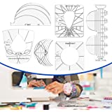 HJW 6Pack Quilting Template Sewing Machine Ruler Acrylic DIY Sewing Tools Kit Free Motion Quilting Grip Template Rulers Inclu