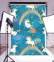 LFEEY ユニコーン 8x10フィート 写真撮影用背景 ユニコーン カラフル レインボー 漫画 水彩 スタイル ハッピーバースデー 抽象的な背景 ベビーシャワー キッズ 幼児 新生児 アーティスティック ポートレート 写真撮影 スタジオ 小道具