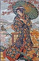 チャーミングな日本の芸者 大理石 モザイク壁画 デザインタイル DIY