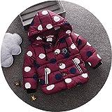 エフティーゾーン(Ftzone)子供服ベビー男の赤ちゃんの子供の男の子コート コットン 厚い服 綿防寒冷え取り冬物 ダウンジャケット ダウンコート上着防風(ドット) (L/身长100cm, 赤)