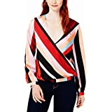Bar III Womens Striped Surplice Pullover Top