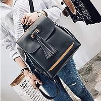 ZHANGYOUDE Full Cap Tassel PU Leather Double Shoulders School Bag Backpackage Bag (Black) (Color : Black)