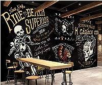 Mbwlkj 3D写真の壁紙カスタム壁画ヨーロッパとアメリカのパンクオートバイギミックバーKtvの装飾リビングルーム用壁-150cmx100cm
