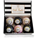 Luxurico Bath Bombs Gift Set 6 Natural Fizzies, Shea Butter & Lavender Dry Skin Moisturize, Perfect for Bubble & Spa Bath. Ha