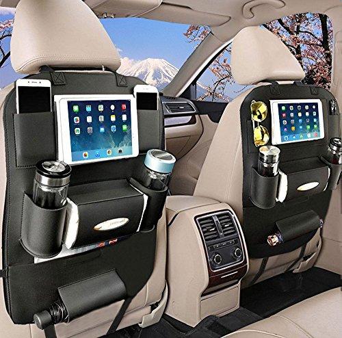 YOOSUN 車用収納ポケットシートバック後部座席 収納 ホルダー レザー製 水筒、Ipad Mini収納ポケット (黒, 2個)