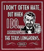 スマックアパレルオクラホマフットボールファン。 テキサスのロングホーンを嫌いな気持ちにしたい。 12インチ x 14インチ メタルファンの洞窟のサイン