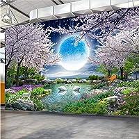 Lcymt カスタム壁画壁紙月桜の木自然風景壁絵画リビングルームの寝室の写真壁紙家の装飾-280X200Cm