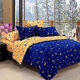 ZHIYUAN 星と月のパターンとベッドシーツ掛け布団カバー枕カバー,シングル,ロイヤルブルーとイエロー