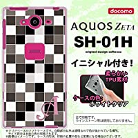 SH01H スマホケース AQUOS ZETA ケース アクオス ゼータ ソフトケース イニシャル スクエア グレー nk-sh01h-tp1016ini C