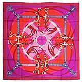 HERMES スカーフ ピンク (エルメス)スカーフ HERMES ソルド カレ 90CMS ツイル シルク100% LA PROMENNDE DU MATIN フランボワーズ/フューシャ/ルージュ 29318