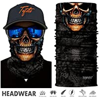 TEFITI Face Mask Bandana Skull Theme, Multifunctional Headwear, Versatile Sports Tube, Casual Face Bandana, Headbands, Wristband, Ponytail Holder, Balaclavas Stretchable Neck Gaiter, Shine Your Personality and Comfort YouIn Skiing,Hiking,Biking And Running for Women&Men