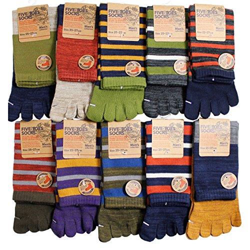 【5本指ソックス】【靴下 メンズ】複数の色糸をミックスして編まれた「引き揃え」シリーズ 10足セット カカトなしタイプ | メンズソックス | 5本指靴下