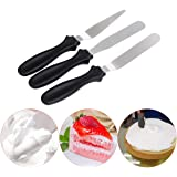 Stainless Steel Angled Icing Spatula, MKNZOME 3 Pcs Professional Palette Knife Set Offset Spatula Icing Tool for Cupcake Cake