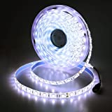 JOYLIT DC 24V Cool White 6000-6500K Flexible Waterproof LED Strip Lights Super Bright 300 Units 5050 LEDs Light Strip 5m/Reel