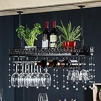 バー家具/ヨーロッパのワインは、ワインラックバーワイングラスワインラックゴブレットハンガーラック(色:ブラックサイズ:80 * 25 * 32センチメートル) (Color : Black, Size : 80*25*32cm)