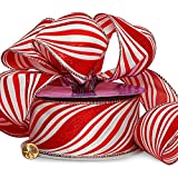 """Red Striped Wired Christmas Ribbon - 2 1/2"""" x 25 Yards, Red White Candy Cane Swirls, Garland, Gifts, Wrapping, Wreaths, Bows"""