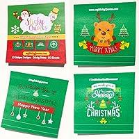 クリスマス付箋–Perfect for Secret Santa , Stocking Stuffer &ギフトWrapping–2パッド50Sheets / PadグリーンノートW /レッドホワイト&ゴールドTypography