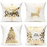 All Smiles Merry Christmas Gold Plating Throw Pillow Covers Case Stamping Print Soft Decorative Xmas Decor Cushion 18 X 18 Se