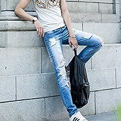 (ゆうや)YoYeah デニムパンツ メンズ ジーパン ジーンズ ダメージデニム 34 水色