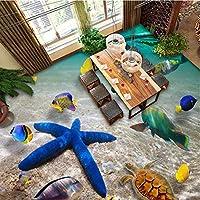 Lixiaoer カスタム3Dフロアステッカー水中世界ヒトデ海寝室浴室床ステッカー自己接着防水壁紙家の装飾-350X250Cm