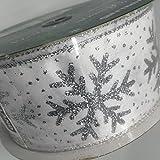 ラッピング リボン(ワイヤーエッジ)/雪の結晶(スノーフレーク) 6.3cm×45.7m 18B20