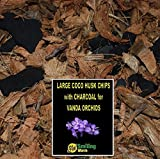 Orchid Bark, Orchid Soil, Orchid Compost, Orchid Plants, 25-30 mm Washed Coco Husk Chips + Charcoal, オーキッド植物のためのオーキッド樹皮土堆肥、良い排水のために木炭と混合された100%有機ココナッツ殻チップ。 Vanda Plant, Eulophia, Rhynchostylis Gigantea 用の小型ココナッツチップ。(3 Litres)