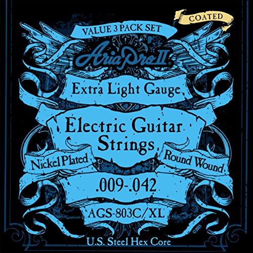 AriaproII アリアプロII エレキギター用コーティング弦 ニッケル エクストラライト 3パック AGS-803C XL