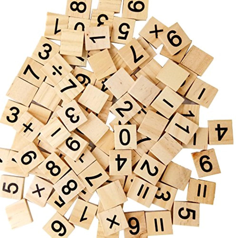【ノーブランド品】 100個 木製 番号0-9 キューブブロック 教育ゲーム 知育玩具 工芸品 贈り物