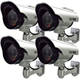 Henxlco 4Pack Dummy Solar Security Camera Flashing Light Infrared LED CCTV Surveillance