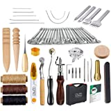 MKNzone 59PCS Leather Craft Tools, DIY Leather Sewing Tools, Hand Craft Leather Working Tool Set, Kit of Leather Supplies Acc