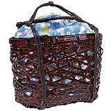 (キョウエツ) KYOETSU かわいい竹かご巾着バッグ 浴衣 和柄 レトロ kg-06 (かご-焦茶×ブルー系)